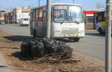 Уборка мусора с обочин и газонов города